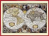 1art1 Mapas Históricos Póster Impresión Artística con Marco (Plástico) - World Map, 1606 (80 x 60cm)