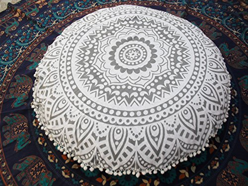 Dekorativer Kissenbezug von Traditional Jaipur, runder Sitzkissenüberwurf mit Mandala-Motiv, 80 cm groß silber