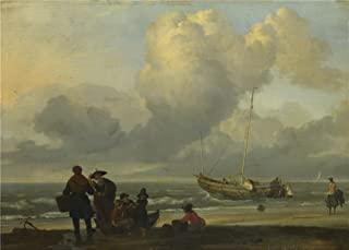 'Ludolf Bakhuizen A Beach Scene With Fishermen ' Oil Painting, 24 X 34 Inch / 61 X 85 Cm ,printed On Polyster Canvas ,this Imitations Art DecorativeCanvas Prints Is Perfectly Suitalbe For Garage Artwork And Home Gallery Art And Gifts