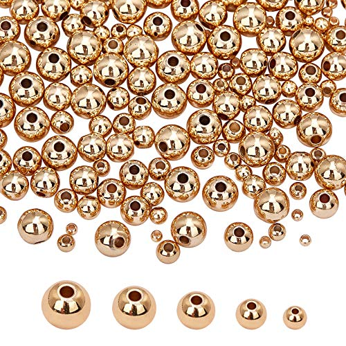 PandaHall 6 cuentas rellenas de oro, 300 unidades, pequeñas cuentas redondas sin costuras, para pulseras, collares, joyas y manualidades (2 mm, 3 mm, 4 mm, 5 mm, 6 mm)