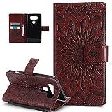 LG V20caso, LG, V20, ikasus), diseño de Mandala de flores de girasol patrón piel sintética plegable tipo cartera, funda de piel tipo cartera con función atril para tarjetas de crédito ID soportes car