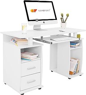 COMIFORT T05B - Mesa de Ordenador, Escritorio, Mesa de Oficina, 115x55x76 cm, Color Blanco