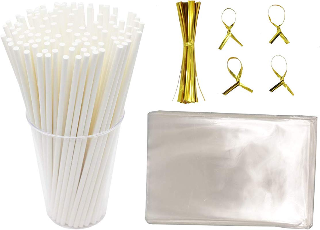 Lollipop Wrapping Kit Including Paper Cookie Sticks Oven Use 1000pcs Clear Treat Bags 1000pcs And Golden Metallic Twist Tie 1000pcs For Cookie Candy Cake Pop