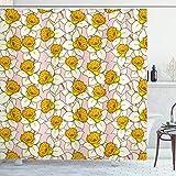 ABAKUHAUS Gelbe Blume Duschvorhang, Flourish Natur, Seife Bakterie Schimmel & Wasser Resistent inkl. 12 Haken & Farbfest, 175x180 cm, Pale Pink Gelb-Creme