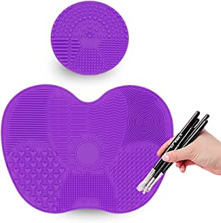 TailaiMei Makeup Brush Cleaning Mat,Set of 2 Silicone Cosmetic Washing Tool with Suction Cups(Purple)