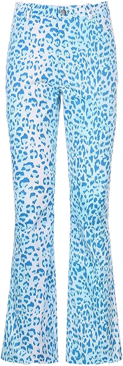 Bowanadacles Women Fashion High Waist Pants Zebra Pattern Flare Pants Straight Wide Bell Bottom Trousers Loose Leg Pants