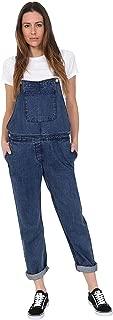 Ladies Regular Fit Denim Dungarees - Stonewash Basic Bib-Overalls