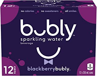 bubly Sparkling Water blackberrybubly, 355 mL Cans, 12 Pack