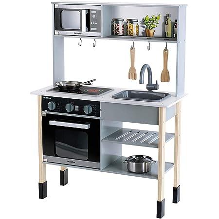 Theo Klein 7199 Cucina Miele in legno bianca incl. piano di cottura con suono e luce, Accessori da cucina in acciaio inossidabile che non si riscalda, legno, Dimensioni: 70 cm x 30 cm x 91 cm