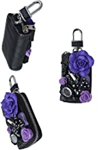 EVTECH(TM) Universal Car Smart Key Chain Leather Holder Cover Case Fob Remote 3D Handmade Luxury Shining Glitter Crystal Diamond Rhinestones (100% Handcrafted) (Pattern-A10)