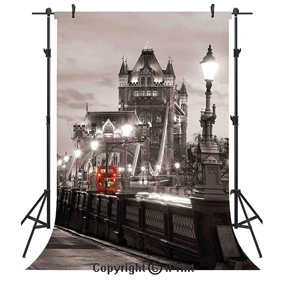 Black and White Photography Backdrops,London Theme Tower Bridge in The Famous City Urban Life Scenery Europe,Birthday Party Seamless Photo Studio Booth Background Banner 10x20ft,Taupe Grey Red