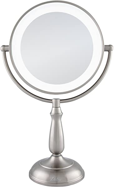 Zadro Satin Nickel Dual Sided Led Lighted Dimmable Touch Vanity Mirror 12X 1X Magnification