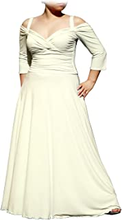 4ff5cd0a0eff EVANESE Women's Plus Size Elegant Long Formal Evening Dress with 3/4 Sleeves