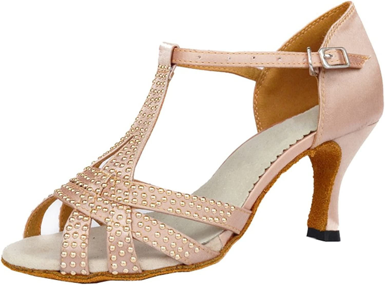 TDA Women's T-Strap Buckle Satin Crystals High Heel Comfort Evening Wedding Latin Modern Dance shoes