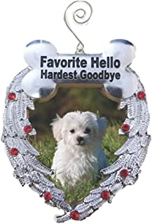 BANBERRY DESIGNS Pet Memorial Photo Christmas Ornament - Favorite Hello Hardest Goodbye Saying - Loss of a Dog Ornament