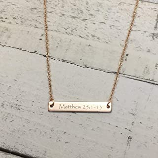 A Same Day Shipping before 3 P.M EST,Christmas gift,Engraved Bible Verse Bar Necklace-Personalized jewelry,Faith Jewelry,Custom Necklace, Baptism gift,Gold plated,silver name bar, silver necklace,