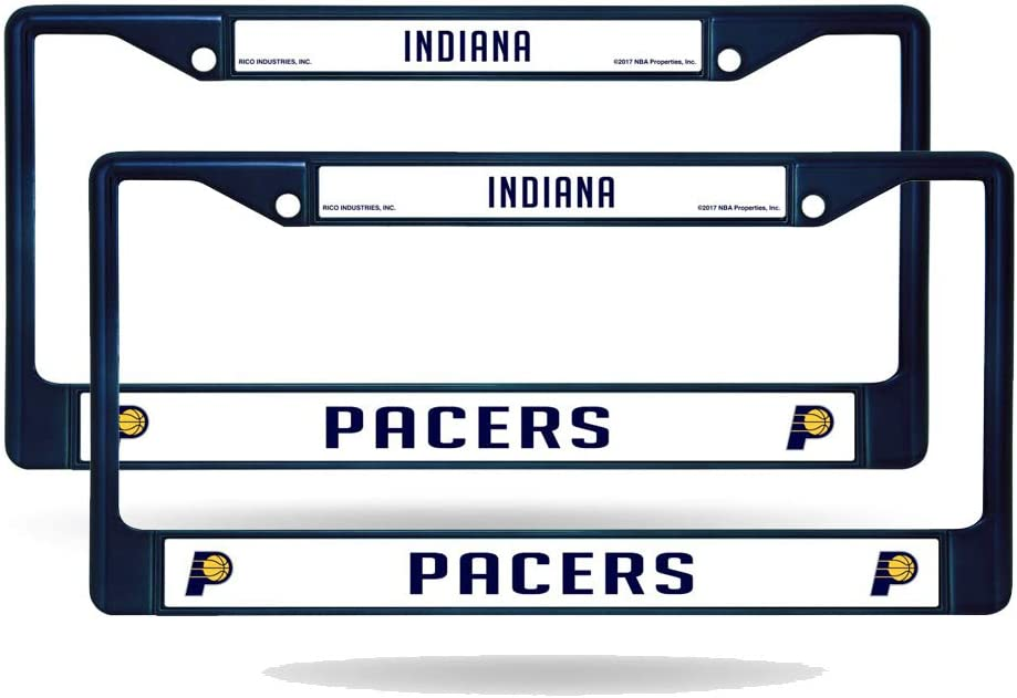 Rico Indiana Max 56% OFF Pacers NBA Set of 2 Popular popular Chrome Painted Lic Metal Navy