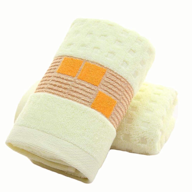 しおれた利点脊椎CXUNKK 2PCS / LOT綿厚手ソフト吸収性フェイスタオル (Color : Yellow)