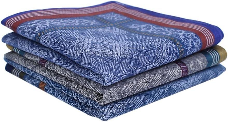 DIAOD 3Pcs/Set Mens Cotton Handkerchief Gradient Color Wall Brick Plaid Patterns Pocket Square Hankies for Wedding Party Gift Random