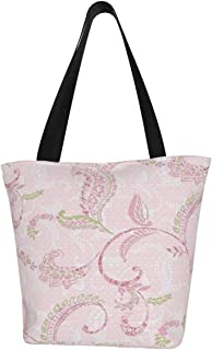 Lesif Riley Einkaufstaschen, rosa Paisleymuster, Segeltuch, Schultertasche, wiederverwendbar, faltbar, Reisetasche, groß und langlebig, robuste Einkaufstaschen