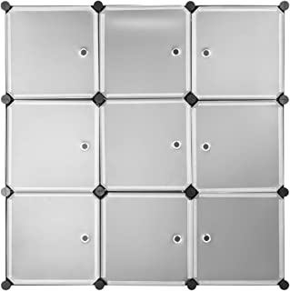 LANGRIA ワードローブ 組立式 大容量 衣類収納ラック クローゼット 収納ケース 収納棚 半透明 9個ラックセット