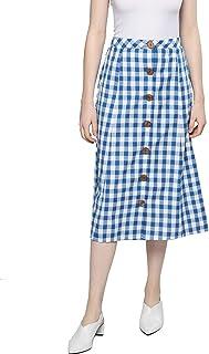 BESIVA Women's Checkered A- Line Cotton Skirt