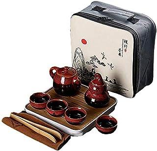GaoYunQin Service à thé de Voyage Céramique Kungfu Style Chinois Portable Service a Thé de Voyage, avec Théière, Tasses a ...