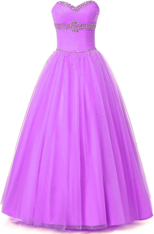 Alexzendra Girl's Watermelon Tulle Prom Dresses Sweetheart Beads Bridesmaid Dresses Graduation Party Dresses