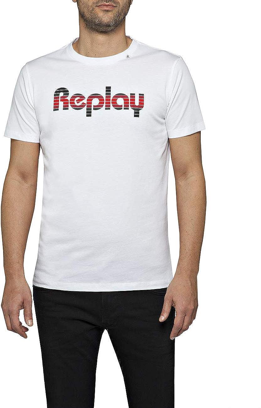 Replay Retro Multicolour 返品不可 Logo T-Shirt White 安売り Men's