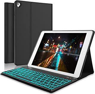 iPad Keyboard Case for for for New 2018 iPad, 2017 iPad, iPad Pro 9.7, iPad Air 1 and 2, Slim PU Leather Folio Cover, 7 Color Backlit Keyboard, Auto Wake/Sleep, Black