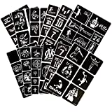125pcs Temporary Tattoos Stencils, 12 Sheets Reusable Boys and Man Glitter Tattoo Basketball Game Kit Templates Face Painting Stencil Body Art Design Stencil Pack for Adults Girls Women Kids(Sport)