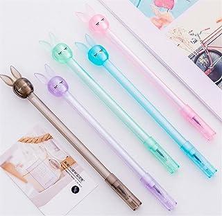 Royare of School Supplies 4Pcs/Set Long Ears Rabbit Gel Pen Set Transparent Signature Pen Student Stationery Prize (Random Color)
