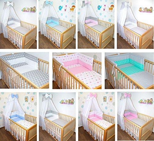5-6 tlg Baby Bettset mit Chiffonhimmel Bettwäsche Nestchen Sterne Drops D1 6 tlg
