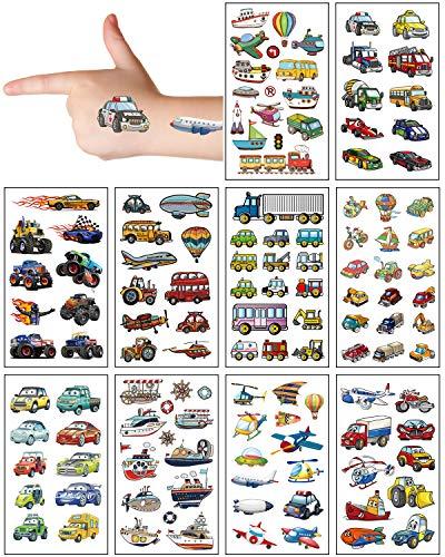 Aoligei 20 Fogli Tatuaggi Temporanei Bambini,Tema Trasporti Tatuaggi per Bambini Delicato Sulla Pelle,Impermeabile Tatuaggi Finti Per Ragazze Ragazzi,