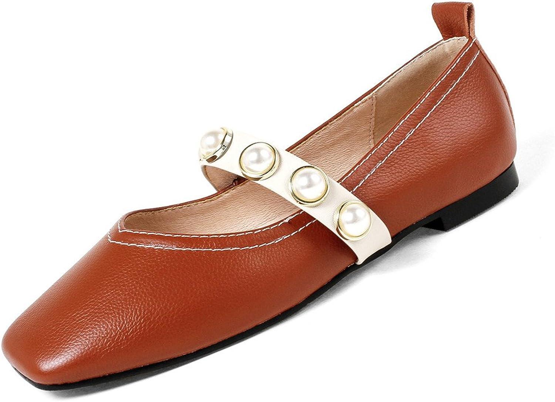 Nine Seven Cow Leather Women's Square Toe Flat Heel Pearls Elegant Handmade Sexy Ballet Flats shoes