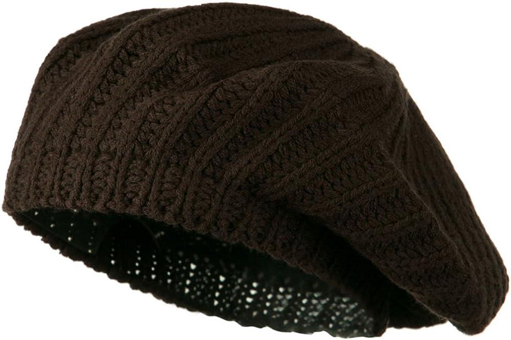 Hatiya Plain Knit Beret - Brown W09S64F