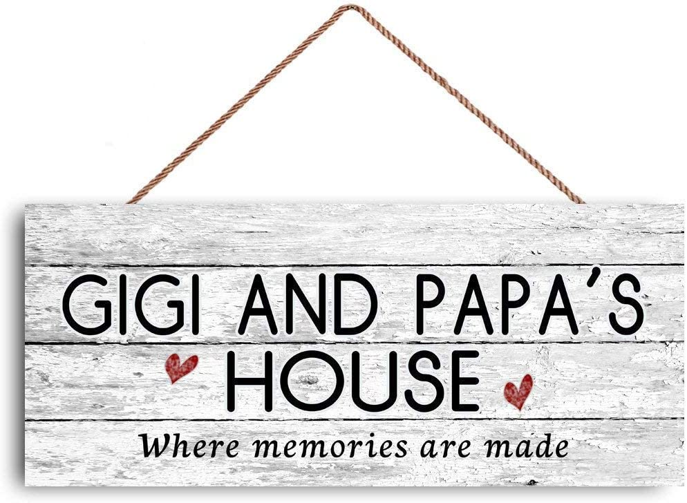 GUQFF 12x6 inch New Sign Gigi and Papa's House Sign, Where Memories are Made, Distressed Style, Gift for Grandparents, Indoor Outdoor Sign