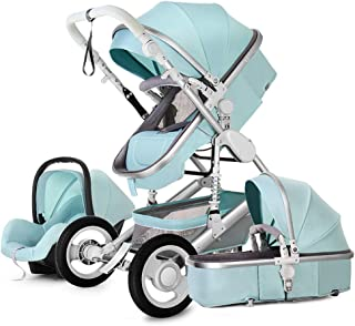 Baby Stroller,Babyfond-JTBS 3 in 1 Folding Baby Carriage Travel System Pram Shockproof Pushchair with Lightweight Handle Sleeping Basket for Newborn (Blue)