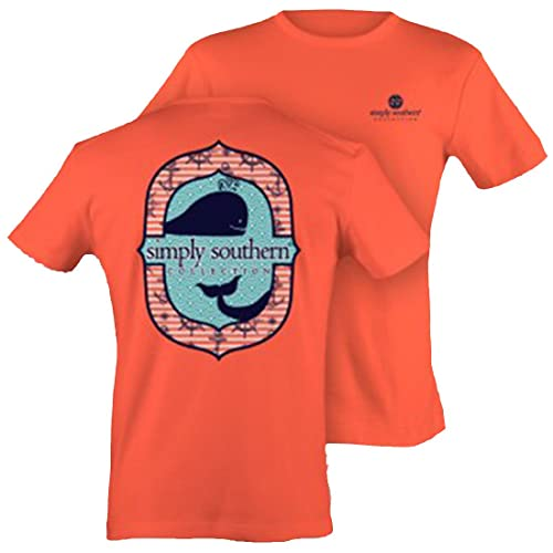 dd9e939d1 Simply Southern Tees Preppy T-shirt - Ocean Whale Coral (Large) YOUTH