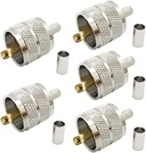 Pack of 5 UHF PL-259 PL259 Male-Plug Crimp Coax Connector Adapter RF Connector for RG58/U LMR195 Coax Cable Compatiable with Ham Radio