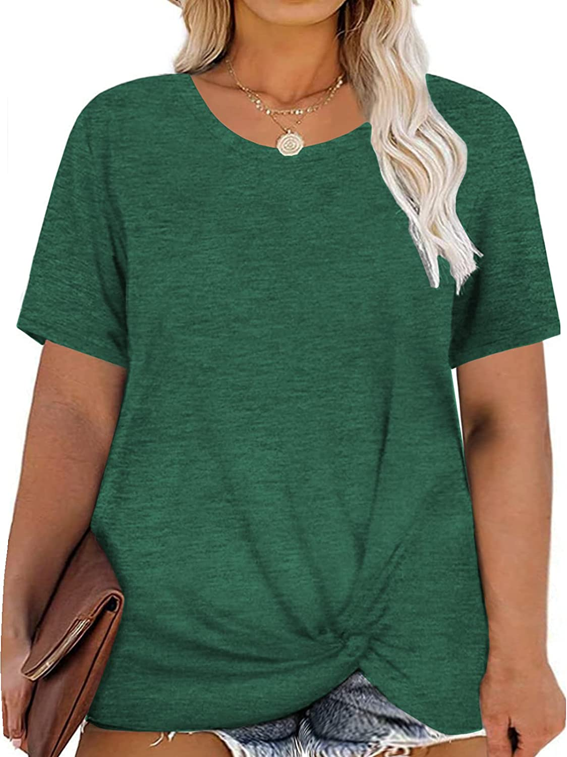DOLNINE Women's Plus Size Knotted Tops Short Sleeve Tees Casual Tunics Blouses