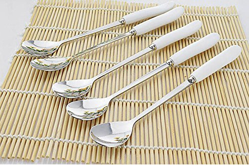 XDOBO Ceramic Milky White Color 7 Inches Long Handle Stainless Steel All-Match Dessert/Ice Cream/Soup Stirring Spoon - Set of 5