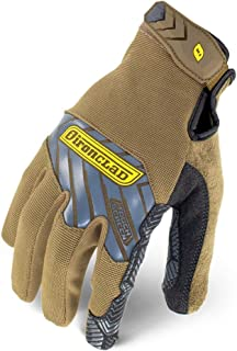 Ironclad IEX-PGG-04-L Command Grip Work Gloves; Touch Screen Gloves Conductive Palm & Fingers, Extreme Grip, Durable, Performance Fit, Machine Washable, Sized S, M, L, XL, XXL (1 Pair), Brown, Large