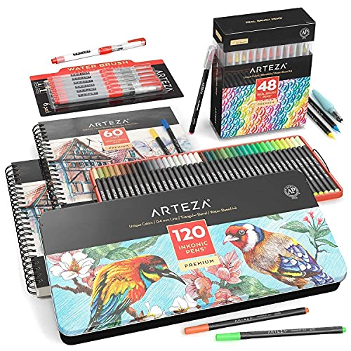Arteza Markers, Water Brush Pens and Mixed Media Sketch Pad Bundle, Drawing Art Supplies for Artist, Hobby Painters & Beginners