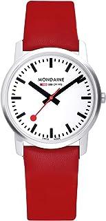 ساعت مچی زنانه Mondaine از جنس استنلس استیل SBB سوئیس-کوارتز با بند چرم گوساله ، قرمز ، 20 (مدل: A400.30351.11SBC)