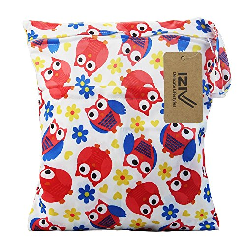 iZiv Wasserdichtes Baby Wiederverwendbare Nass und Trocken Windel Beutel Organisator Beutel 2 Reißverschluss Printing Wickeltasche (Eule)