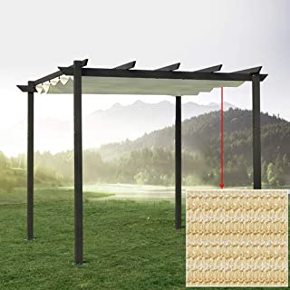 LSXIAO Extendable Sun Shade Replace the Roof,for Pergola,Wire Rope Taxi Track Breathable Polyethylene Anti-UV Hydrophobic ...