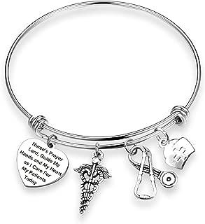 TOGON Nurse's Prayer Heart Bracelet Nurse Bracelet Nurse Graduation Gift Nurse Jewelry Nursing Appreciation Gift Thank You Gift for Her
