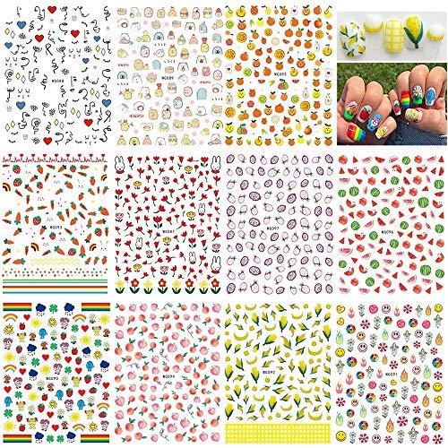 1000+piezas Verano Pegatinas Uñas,Mwoot 3D Pegatinas Uñas Decorativas Nail Art Stickers Fruta Estampado de Decoracion