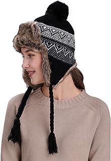 Quaanti Warm Hat,Women Winter Hats with Ear Flaps Snow Ski Thick Knit Thick Wool Beanie Cap (Black)